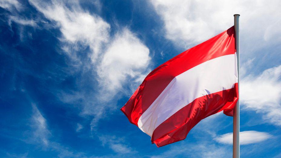 Сборная Австрии выходит на поле под красно-белым флагом. Фото: Global Look Press