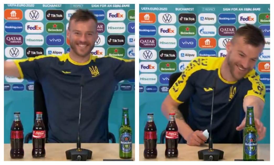 Нападающий сборной Украины Андрей Ярмоленко не стесняется ни газировки, ни пива. Фото: Твиттер Евро 2020 в Санкт-Петербурге